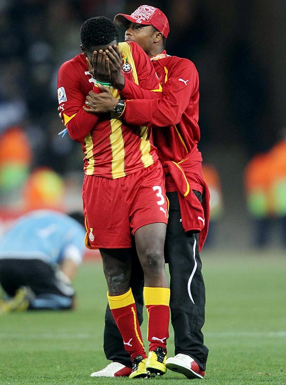 Bidding to become the first African nation to reach a World Cup semifinal, Ghana was awarded a penalty kick in the final seconds of stoppage time after Uruguay's Luis Suarez used his arm to prevent a goal. But Asamoah Gyan, who had scored twice on PKs earlier in the tournament, clanged his shot off the crossbar to keep the score at 1-1. The game went into a penalty shootout, where Uruguay prevailed 4-2 to book a semifinal berth for the first time in 40 years.