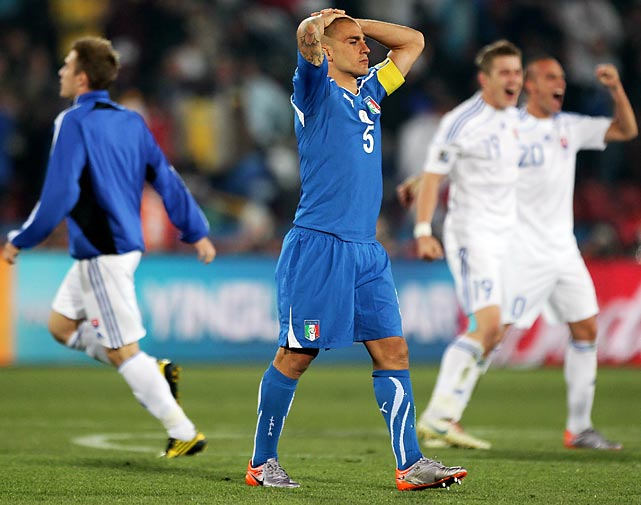 Captain Fabio Cannavaro and the aging Italians mounted a weak defense of their World Cup title, finishing last (with two draws and a loss) in Group F, which included a not-so-fearsome threesome of Paraguay, Slovakia and New Zealand.