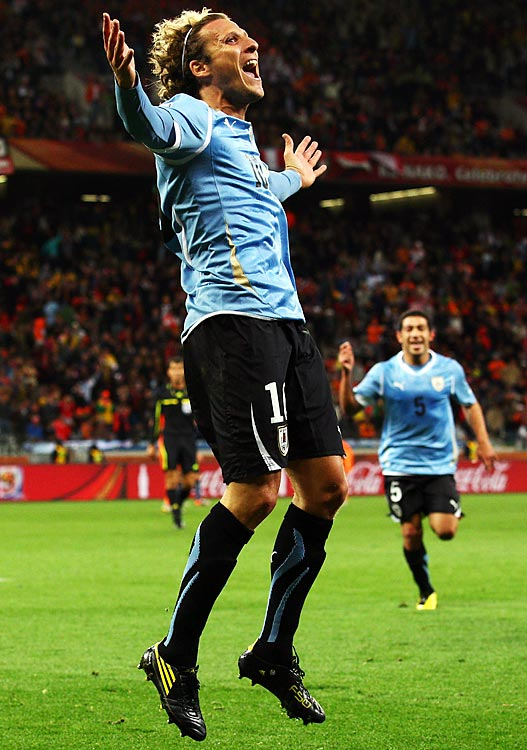 Diego Forlan punctuated his outstanding World Cup by scoring his fourth goal of the tournament.