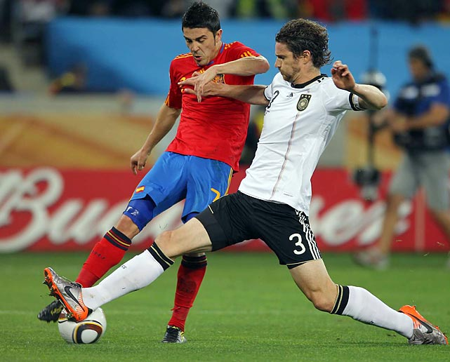 Though he couldn't find the net for the sixth time in the tournament, Spain's David Villa kept the pressure on the German defense all match.