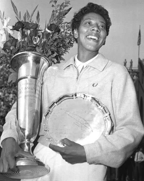 Althea Gibson wins the Wimbledon women's singles tennis title, becoming the first black athlete to win the event.