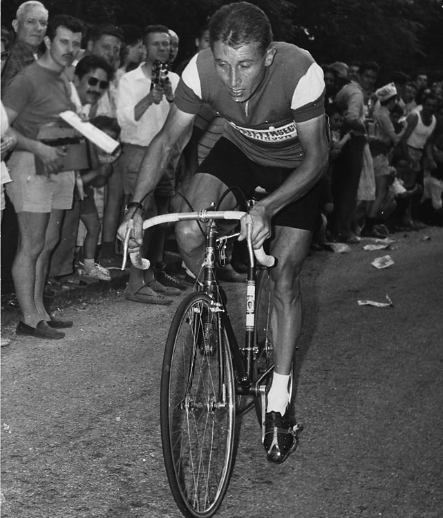 Anquetil was the first rider to win five Tours and the first to capture all three Grand Tours (France, Spain, Italy). He won his first Tour de France at age 23. He skipped the Tour in 1960 but came back to win four straight. He raced in one more Tour, quitting in the 17th stage in 1966.
