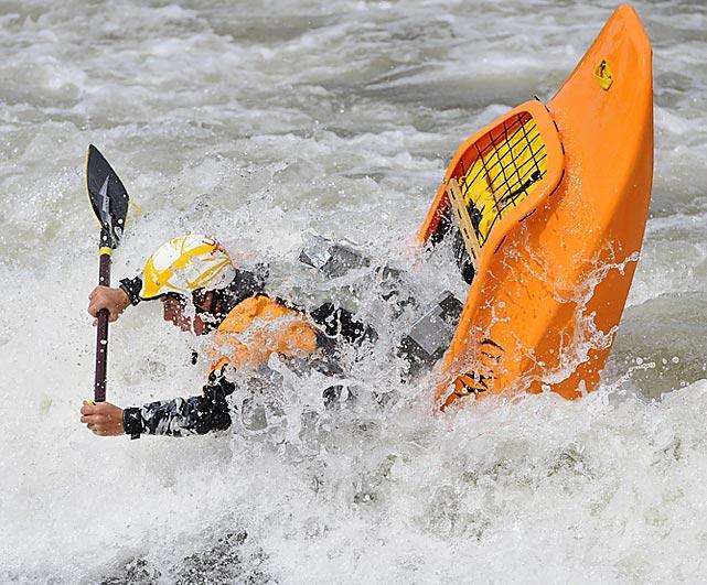 Junior Dane Jackson messing around on his way to winningthe Open Canoe Division.