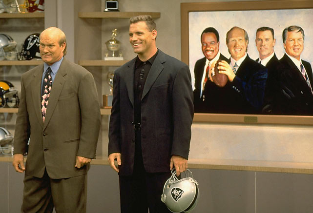 Analysts Terry Bradshaw and Howie Long are all smiles on the Fox NFL set.
