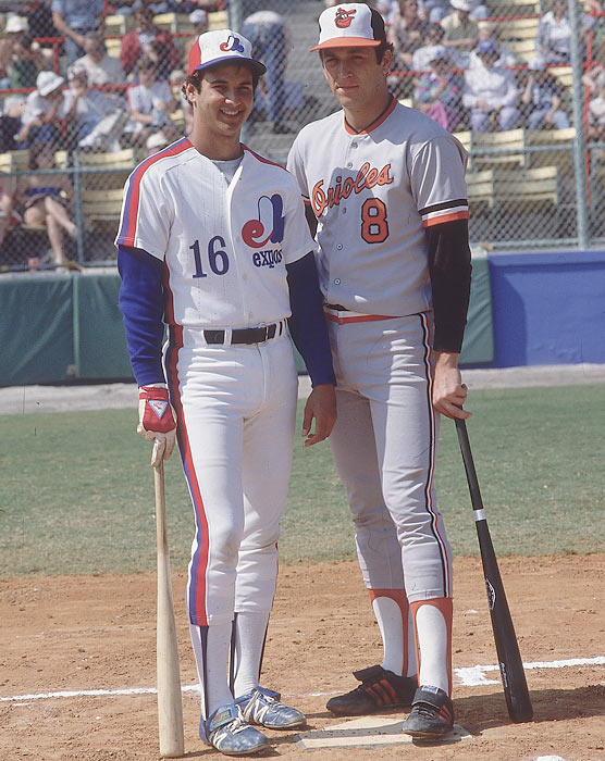 Ripken with current Red Sox manager Terry Francona before an Orioles-Expos game. Like Ripken, Francona grew up in baseball as his father, Tito, spent 15 seasons in the big leagues.