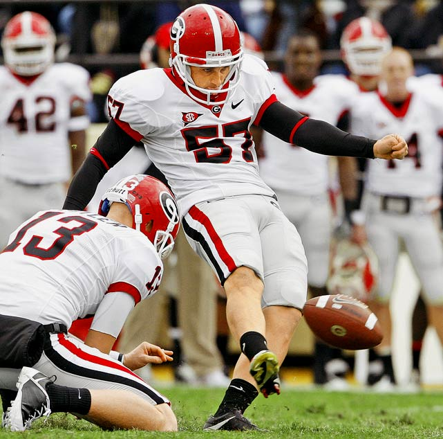 The 5-foot-10, 185-pound Florida native was a popular man in Georgia in 2009, connecting on 20 of 22 field goals for the Bulldogs, including a career-long 53-yarder against No. 9 Oklahoma State. He also kicked a 37-yard field goal as time expired to beat Arizona State.