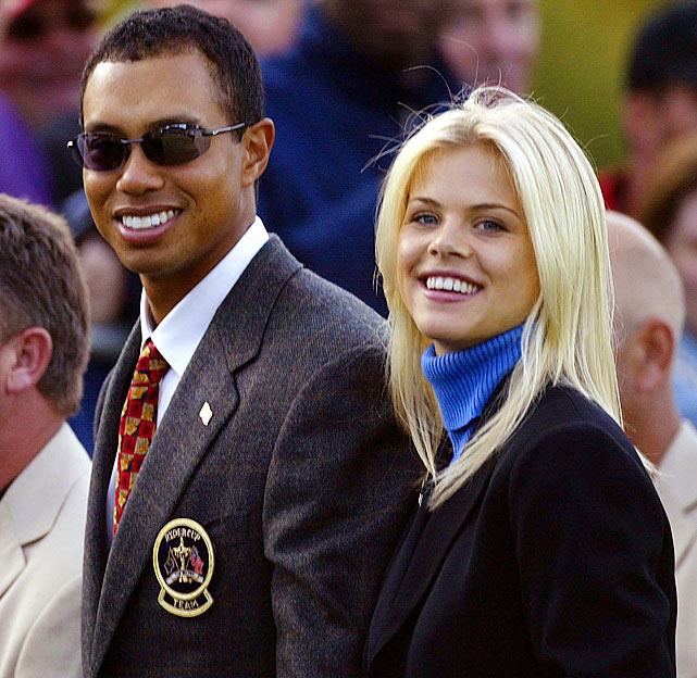 Elin poses with Tiger during the opening ceremony of the 34th Ryder Cup in September 2006.