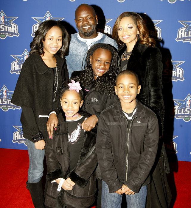 The Smith family poses for a photo during NBA All-Star Weekend in Arlington, Texas.