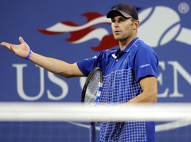 While Andy Roddick wasn't able to intimidate a line judge like Serena Williams did, he was able to embarrass one.  Down 5-2 in the third set, Roddick was called for a foot fault.  When he asked for clarification, the line judge told Roddick that his right foot had caused the fault, when in fact it was his left. Right or left, Roddick was called for the fault and subsequently upset by Janko Tipsarevic.