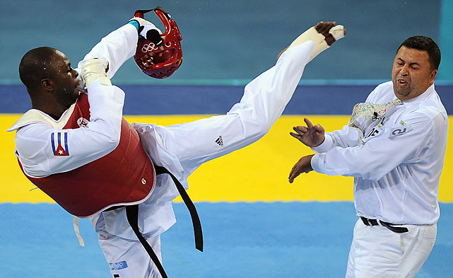 When Angel Matos, a taekwondo Olympian, was told he was disqualified from the bronze medal match in Beijing in 2008, he was justifiably angry.  The referee stated that Matos had taken too long to return from an injury timeout, and Matos responded by pushing and eventually kicking the referee in the face. Matos was dragged out of the arena and given a lifetime ban from the Olympic games.