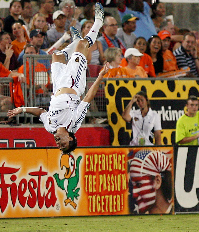 Fabian Espindola loved to celebrate goals with a backflip.  Apparently, he also loved to celebrate disallowed goals too.  In an MLS game in September 2008, Espindola thought he connected on a header to give his Real Salt Lake squad a 1-0 lead.  Espindola went into his customary backflip and landed awkwardly, severely spraining his ankle. A minute later the goal was negated because Espindola had been offside.