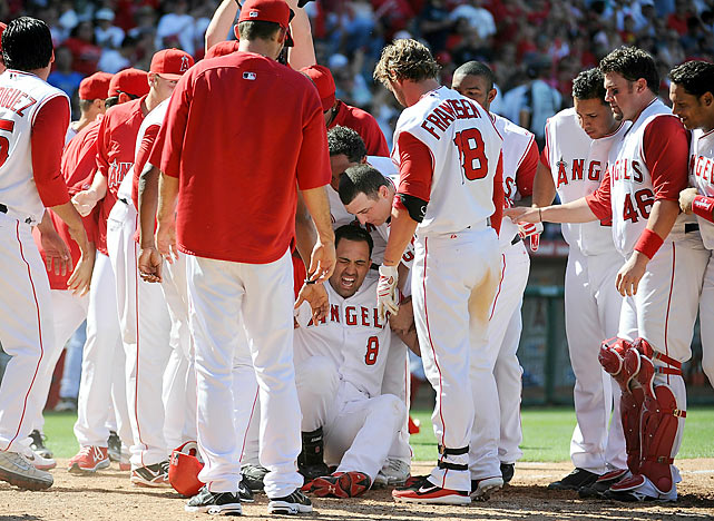 Kendry Morales had crossed the plate 154 times in his career without incident.  But on May 29, 2010, when Morales tried to cross for the 155th time, everything went awry. Having just stroked his first career grand slam in a walk-off win against the Seattle Mariners, Morales galloped around the bases and punctuated his accomplishment by jumping to stomp on home plate. Five minutes later, he was carted off the field with a broken leg, carrying with him the hopes for an Angels' playoff berth.