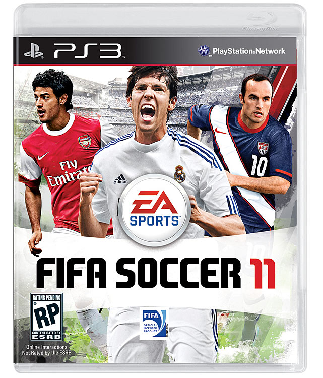 This year's cover features a trio of soccer's superstars: (from left to right) Arsenal's Carlos Vela, Real Madrid's Kaka and LA Galaxy's Landon Donovan. The coolest new feature in the game is 11-on-11 multiplayer matches where every position, including goalie, can be controlled. That's just good clean soccer mayhem, and we can't wait for it. FIFA Soccer 11 is scheduled for a September 28 release on the Xbox 360, PS3, Wii, PS2, PSP and DS.