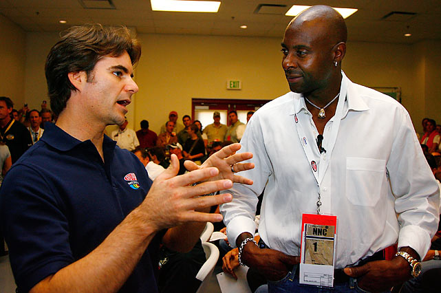 Here talking to speed-demon Jeff Gordon, Rice wasn't exceptionally fast as a wide receiver. Many accounts have his 40-yard dash time coming into the NFL at only 4.6 seconds, but it seemed to work out OK for him.
