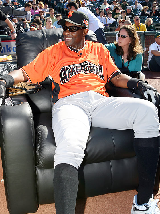 It comes with age: Rice needed some time to relax on a recliner during the 2007 All-Star Legends and Celebrity softball game in San Francisco.