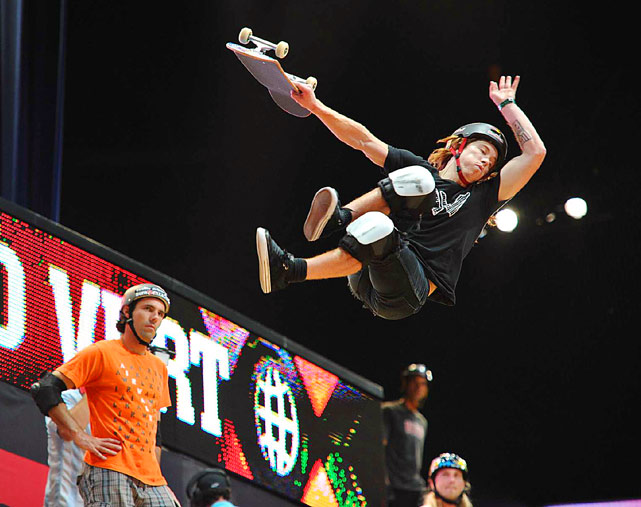 Shaun White en route to a silver medal in the Skateboard Vert Final during X Games 16 at the Nokia Theatre on July 30 in Los Angeles.