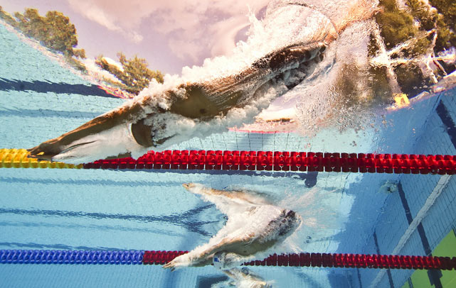 France's Sebastien Rouault (bottom) and Italy's Samuel Pizzetti compete in the 1.500m freestyle final at the European Swimming Championships in Budapest on Aug. 11. Rouault won the event.