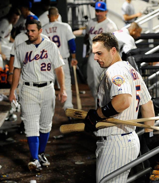 After going an absurd 110 straight innings at home without scoring more than one run, the Mets finally put up a crooked number (2) in the fifth inning against the Nationals on Sept. 11.  It is the longest such streak in major league baseball since the Washington Senators went 119 in 1909.  The following day they also extended their club-record streak of scoring three runs or fewer to 13 straight home games. The Mets have lost 22 of their last 26 in Queens and have just four wins at Citi Field since the All-Star break - two fewer than the Nationals, one fewer than the Braves, and equal to the Rockies, who swept the Mets in four games at Cit Field in August.