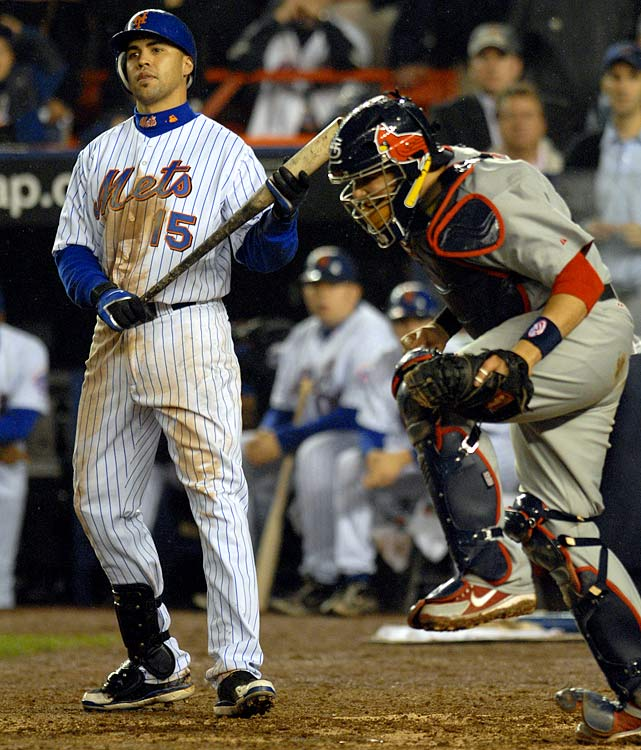 Led by young stars David Wright and Jose Reyes, the Mets roll to the NL East title by 12 games and finish with 97 wins. But they are upset by the 83-win Cardinals in the NLCS, dropping Game 7 at home. The series ends with a 3-1 loss in which Carlos Beltran strikes out with the bases loaded.