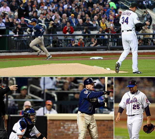 The Mets' new ballpark is beautiful, but it is controversial before it even opens. Named Citi Field, the 41,000-seat stadium is briefly considered for a name change in the wake of the nation's financial woes, but it opens as planned, and as named, for the 2009 season. Starting pitcher Mike Pelfrey is blown off the mound by a strong wind and reliever Pedro Feliciano later balks home the run that hands the Padres the victory.