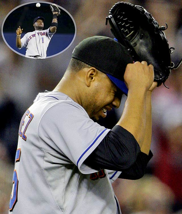 Leading the Yankees by one with two out in the ninth, closer Francisco Rodriguez gets Alex Rodriguez to hit a harmless popup to second base. But Luis Castillo, another Met whose play has not come close to matching his pay, drops the ball, allowing both runs to score and costing the Mets the game.