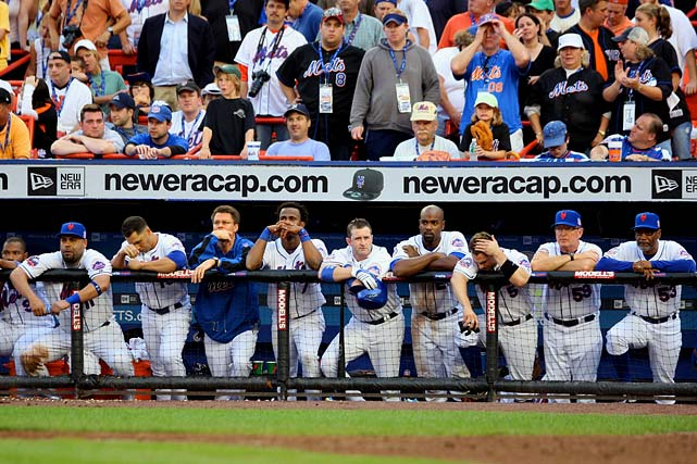 Once again, the Mets have a healthy lead with 17 games to play. They are 3 1/2 games in front after beating the Nationals on Sept. 10 but lose four of their next five to fall into second place. They retake first for the last time on Sept. 19, then lose six of nine to fall out of contention for the division title. On the season's final day, they still have a shot at the wild card, but lose 4-2 to the Marlins in the last game ever played at Shea Stadium.