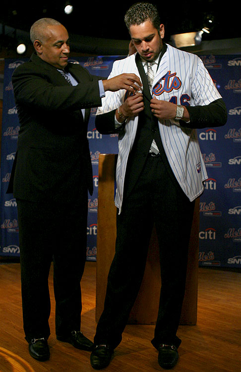 In a deal that has become a symbol of their many disastrous free-agent signings in recent years, the Mets ink Oliver Perez to a three-year, $36 million contract in hopes that the enigmatic left-hander can finally harness his considerable talent. Perez, 3-8 with a 6.77 ERA since, is demoted to the minors in 2010. Omar Minaya tries to deal him but finds no takers.