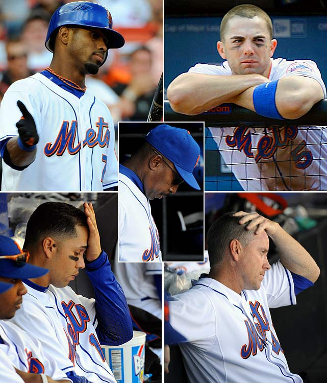 After beating the Braves on Sept. 12, the Mets lead the NL East by seven games with just 17 games remaining. They lose 11 of their next 15 games, including a pair of five-game losing streaks, to fall out of first place for the first time since mid-May. Tied for first going into the last game of the season, the Mets lose 8-1 at home to the Marlins and finish behind the Phillies in the NL East, becoming the first team to blow a seven-game lead with as few as 17 games to play.
