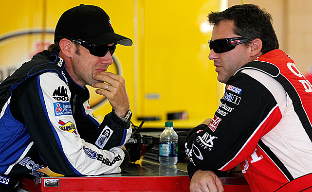 "In August 2012, the two drivers were fighting for the lead at Bristol with calamity lurking for most of a lap when they finally collided and hit the wall.After they came to a stop, a furious Stewart climbed out and heaved his helmet at Kenseth's car as it drove off. ""I'm going to run over him every chance I get for the rest of the year,"" Stewart groused. You can watch the video HERE"