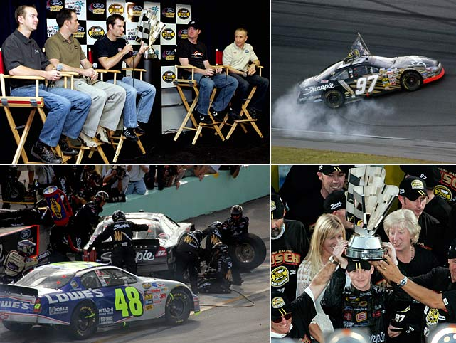 NASCAR's Chase system was met with skepticism when Brian France introduced it in December 2003, but it's hard to argue with the sport's first-ever playoff finale. Five drivers entered the final race with realistic title chances, points leader Kurt Busch leaving it a wide-open battle after losing a wheel early during Homestead's 400-miler. But the 26-year-old fought back from the brink of disaster, driving his way back to fifth to earn his first and only title by just eight points over Jimmie Johnson.