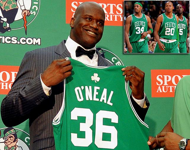 Call him the Big Shamrock. Shaquille O'Neal agreed to take the veteran's minimum and sign a two-year deal with the Celtics, giving Boston a fill-in while Kendrick Perkins recovers from knee surgery (the reigning East champions also signed Jermaine O'Neal). In addition to getting Shaq, the Celtics kept their aging Big Three together by re-signing Paul Pierce and Ray Allen, two members of their 2008 title-winning group.