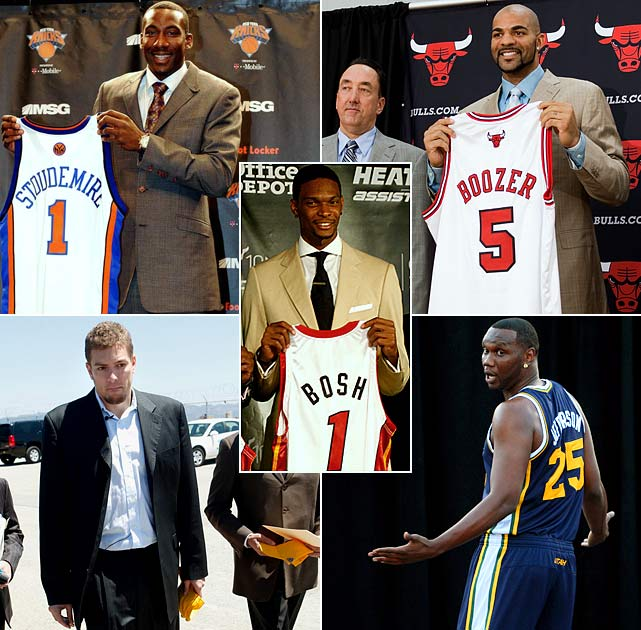 A handful of top-notch power forwards landed on new teams, either by free agency or via trades. Chris Bosh, the biggest name of the bunch, joined LeBron and Wade in Miami, while Amar'e Stoudemire left Phoenix for the bright lights of New York. His arrival paved the way for David Lee's departure, as he joined the Warriors in a sign-and-trade. And just when it seemed Chicago had lost on out the free agency sweepstakes, Carlos Boozer agreed to five-year, $80 million deal with the Bulls via sign-and-trade. The Jazz, meanwhile, acquired Al Jefferson, the Timberwolves' leading scorer last season, for a pair of first-round picks.