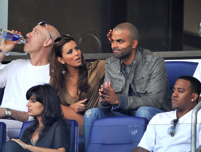 Spurs point guard, Tony Parker, who also got caught up in trade rumors, took his wife, actress Eva Longoria Parker, to New York to see MLS star Thierry Henry and the New York Red Bulls take on the L.A. Galaxy.