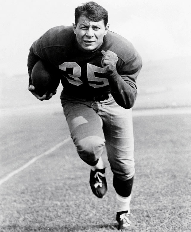 A two-way star for the Eagles' championship teams in 1948 and 1949, Pihos made all-NFL six times in nine seasons. He led the NFL in receiving for three straight seasons and had 373 career catches .   Runner-up: John Henry Johnson  Worthy of consideration: Alan Ameche, Neal Anderson, Marion Butts, Calvin Hill, Jim Nance, Christian Okoye, Riley Smith