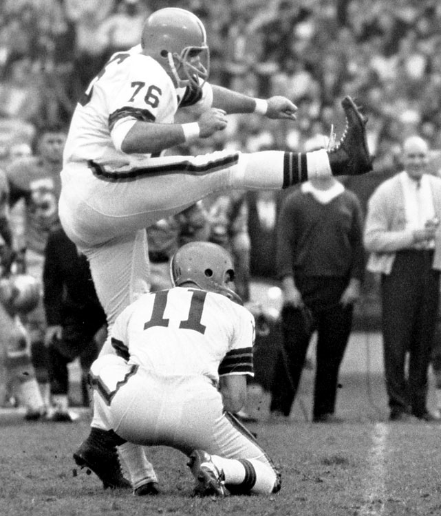 Lou Groza was a nine-time Pro-Bowl pick and was named a first-team All-Pro every season from 1952 to 1955. At 36, Groza suffered a back injury that forced him to miss the entire 1960 season, but came back the next year...as a kicker. Groza kicked for the Browns until he retired at 43, in 1967.