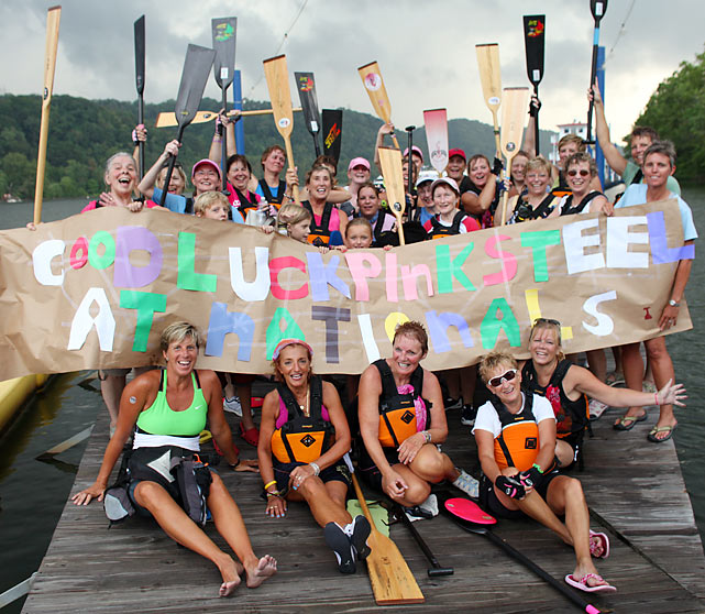 In 2005, Lynn Franks-Meinert founded a dragonboat racing team called Pink Steel to honor a friend who died of breast cancer. The Pittsburgh-based team is made up of cancer survivors and gives the women an outlet and support group.     Dragonboating originated in China roughly 2,500 years ago, but recently it has made a cultish resurgence in some U.S. cities. A typical dragonboat resembles a long, slender canoe, ­albeit one elaborately adorned with a dragon head to ward off evil spirits. A crew of 20 rows in unison to the beat of a drum.    Last month the Steel City Dragons won the overall championship of the BCS division at the United States Dragon Boat Federation 2010 US Club Crew National Championships in Chattanooga, Tenn.     Read Jon Wertheim's story on Pink Steel here: