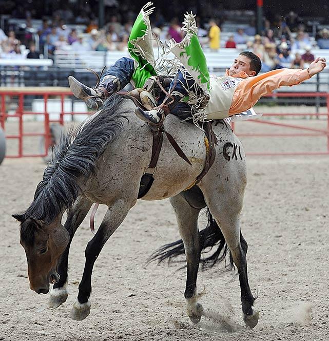 Bareback rider Caleb Bennett.