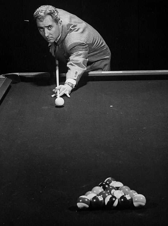 Pool shark Willie Mosconi (pictured) won the World Straight Pool Championships 15 times between 1941 and 1957, and Rudolf Walter Wanderone, Jr., or Minnesota Fats as he was known, was inducted into the Billiard Congress of America Hall of Fame in 1984.