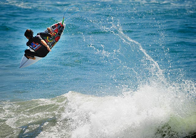 Julian Wilson boosts a giant air during the Expression Session.