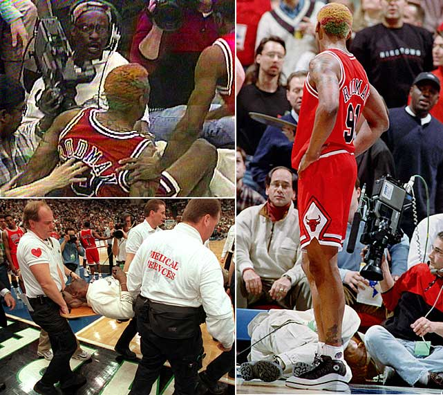 Bulls forward Dennis Rodman kicked a courtside cameraman in the groin during a game in Minneapolis in 1997. Eugene Amos was carried off on a stretcher and treated at a hospital. The ill-tempered rebounding ace served an 11-game NBA suspension, was fined $25,000 and reportedly agreed to pay Amos $200,000.