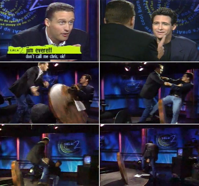 "In 1994, on the set of Jim Rome's raucous call-in show on ESPN2, Rams quarterback Jim Everett knocked Rome off his chair after Rome taunted Everett by calling him ""Chris,"" a veiled reference to the passer's reputed lack of toughness. Rome left the network shortly after, but he has since returned to ESPN with  Jim Rome Is Burning ."