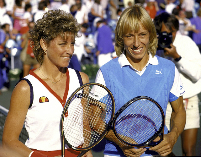 Now  this  was a Super Saturday. All four matches played on stadium court go the distance: Stan Smith beats John Newcombe in the men's 35s semifinal, Ivan Lendl beats Pat Cash 3-6, 6-3, 6-4, 6-7, 7-6 in the men's semifinal, Martina Navratilova beats Chris Evert 4-6, 6-4, 6-4 for the women's title and John McEnroe beats Jimmy Connors 6-4, 4-6, 7-5, 4-6, 6-3 in the second men's semifinal. Play begins at 11:07 a.m. and ends at 11:16 p.m.