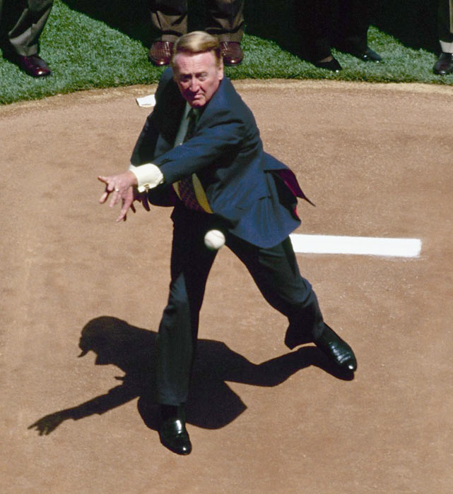Scully throws out the first pitch on Opening Day before the Dodgers-Diamondbacks game at Dodger Stadium.