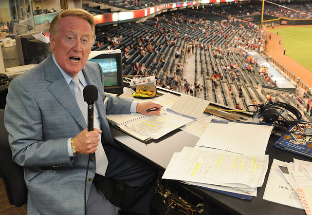 Scully shows off the view from the booth at Chase Field in Phoenix.