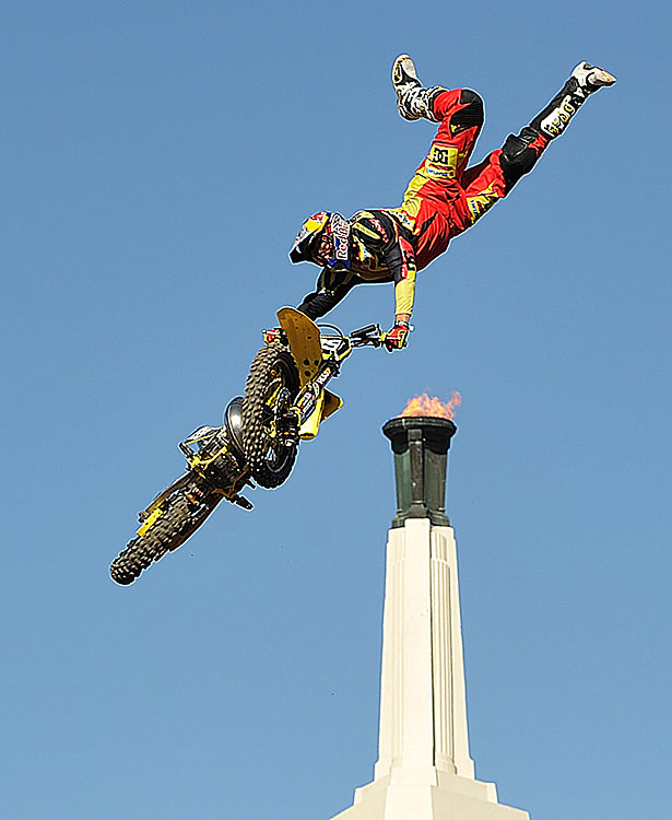 Travis Pastrana gets some big air in the Moto X Freestyle. He won the event by one point.