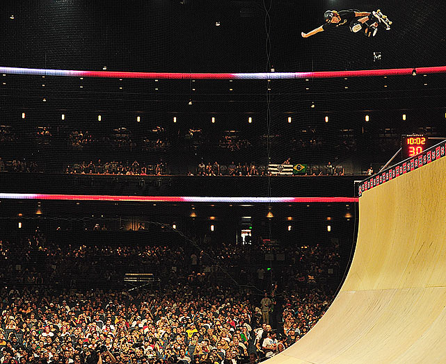 Shaun White gets some big air in the skateboard vert.