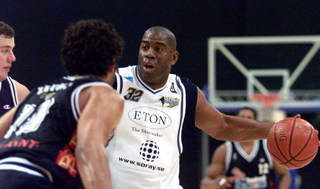 After testing positive for HIV, Magic Johnson retired from the NBA in 1991. Magic unretired and retired a couple more times before permanently leaving the NBA in 1996. But he couldn't stay away from the game entirely, and, in 1998, purchased a team from Boras, Sweden, aptly name Magic M7. He signed a two-year contract to play with the team, and recorded a double-double of 14 points and 11 rebounds in his debut.