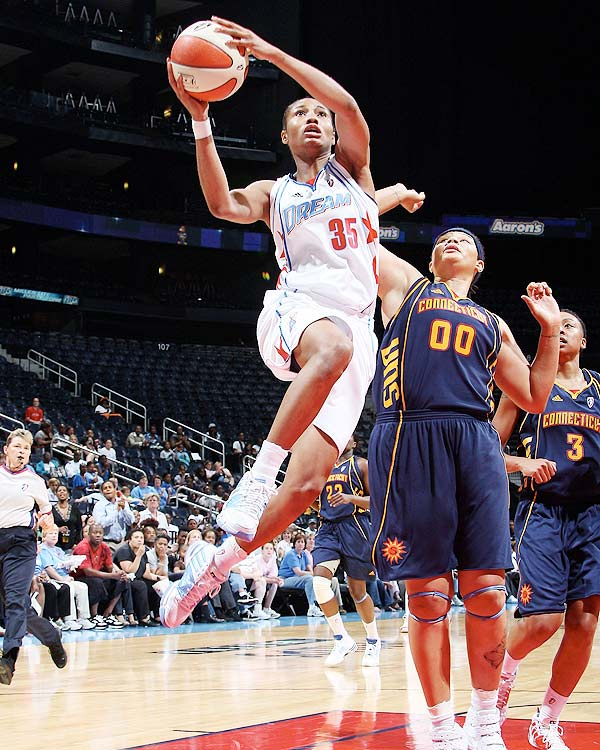 Angel McCoughtry's career is filled with accolades.  After being selected first overall in the 2009 WNBA draft, she was named the 2009 Rookie of the Year.  This year, though she missed out on the WNBA's Most Improved Player award, she led her Atlanta Dream to the WNBA finals, and set the record for the most points in a WNBA playoff game.  Now she has an All-WNBA second team honor to add to her collection.