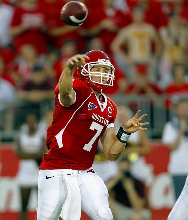 Last Week: 17-of-22, 274 yards, five TDs, two INTs; two rushes, 16 yards in a 68-28 win over Texas State  Throwing five touchdown passes is nothing new for Keenum, who's managed that or more eight times in his career. But only once -- against Tulsa in 2008 -- did he do it one half. After having his way with an FCS defense that gave up over 230 passing yards a game last season, Keenum could put up similar numbers this week against a UTEP team he burned for 536 yards and five scores last year.  Next Up: Friday vs. UTEP