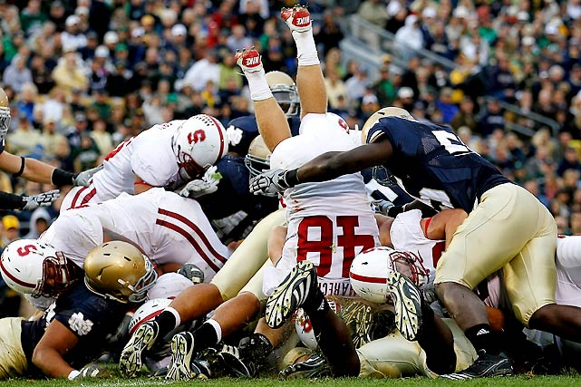 Stanford hadn't won in South Bend since 1992 and had never beaten Notre Dame in back-to-back years, but both those things changed Saturday in a 37-14 Cardinal win. Quarterback Andrew Luck threw his first two interceptions of the season, but Owen Marecic (48) was the star of the day, scoring on a touchdown run and interception return 13 seconds apart.